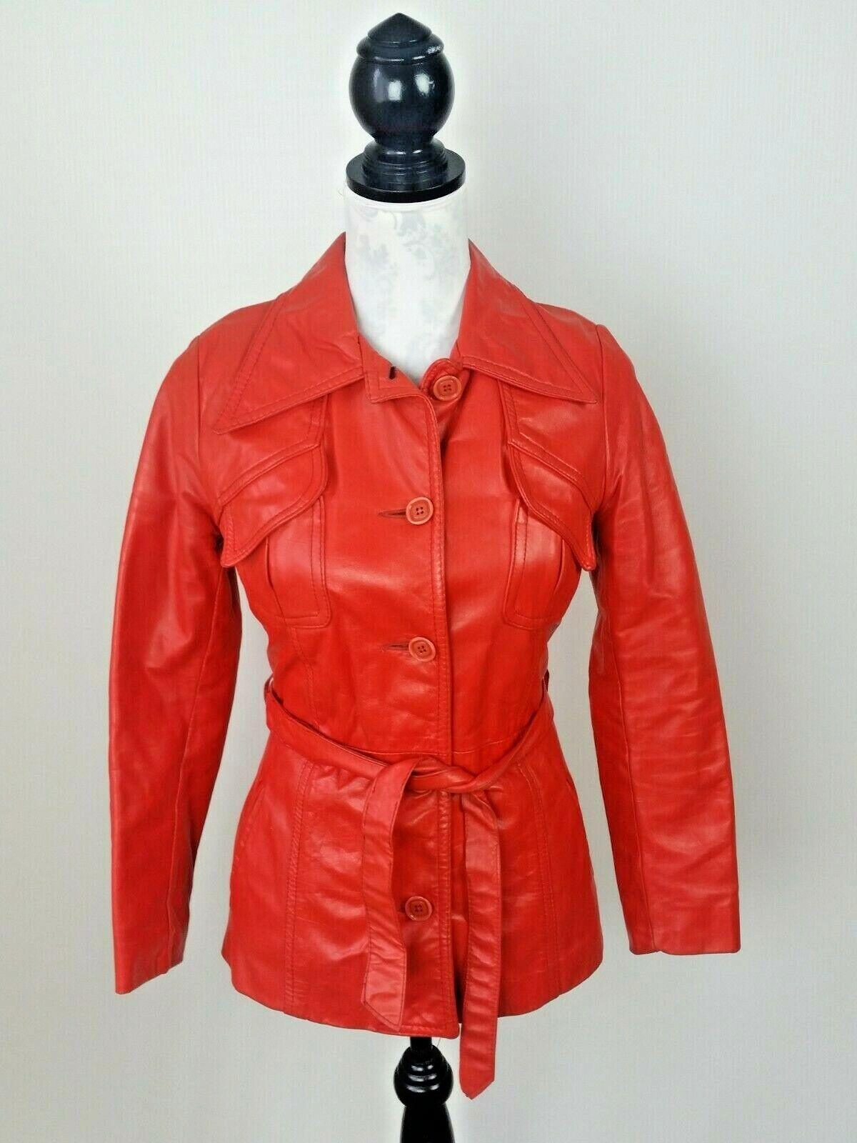 Vintage Orange Leather Womens Jacket Mod 1970s XS - image 1