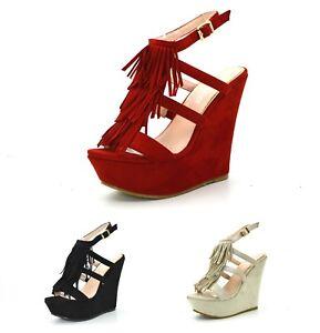 3189dabe9274c7 Caricamento dell immagine in corso Sandali-donna-scamosciati-con-la-zeppa- scarpe-aperte-