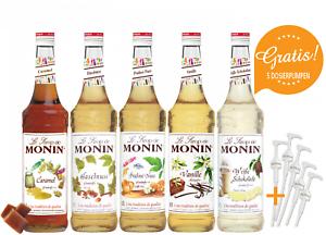 10-l-Monin-Sirup-MONIN-SET-Cafe-5-Pumpen-gratis-5-x-0-7-Liter