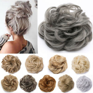 Details About Real Natural Curly Messy Bun Hair Piece Scrunchie Hair Extensions Chignon Grey H