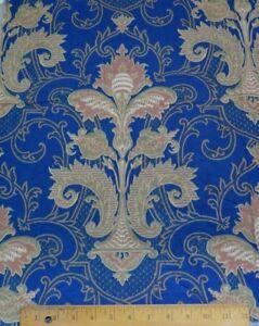 Antique-1870-80-French-Indigo-Blue-Renaissance-Style-Printed-Frame-Cotton-Fabric