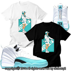 quality design 9aa5e edb99 Details about CUSTOM T SHIRT MATCHING Air Jordan 12 GS Light Aqua JD 12-5-10