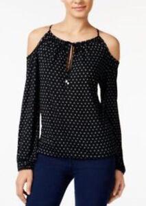 228a26f224455 Michael Kors Davis Dot Print Cold-Shoulder Long Sleeve Peasant Top ...