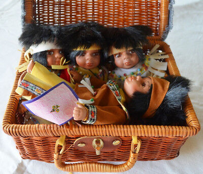 "Porcelain Native American Dolls Lot of 4 Goldenvale 9/""-authenticity certificate"