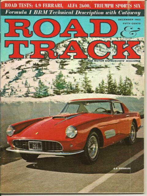 ROAD & TRACK MAGAZINE, DECEMBER 1962, FERRARI, ALFA, TRIUMPH,. CORD, UNREAD