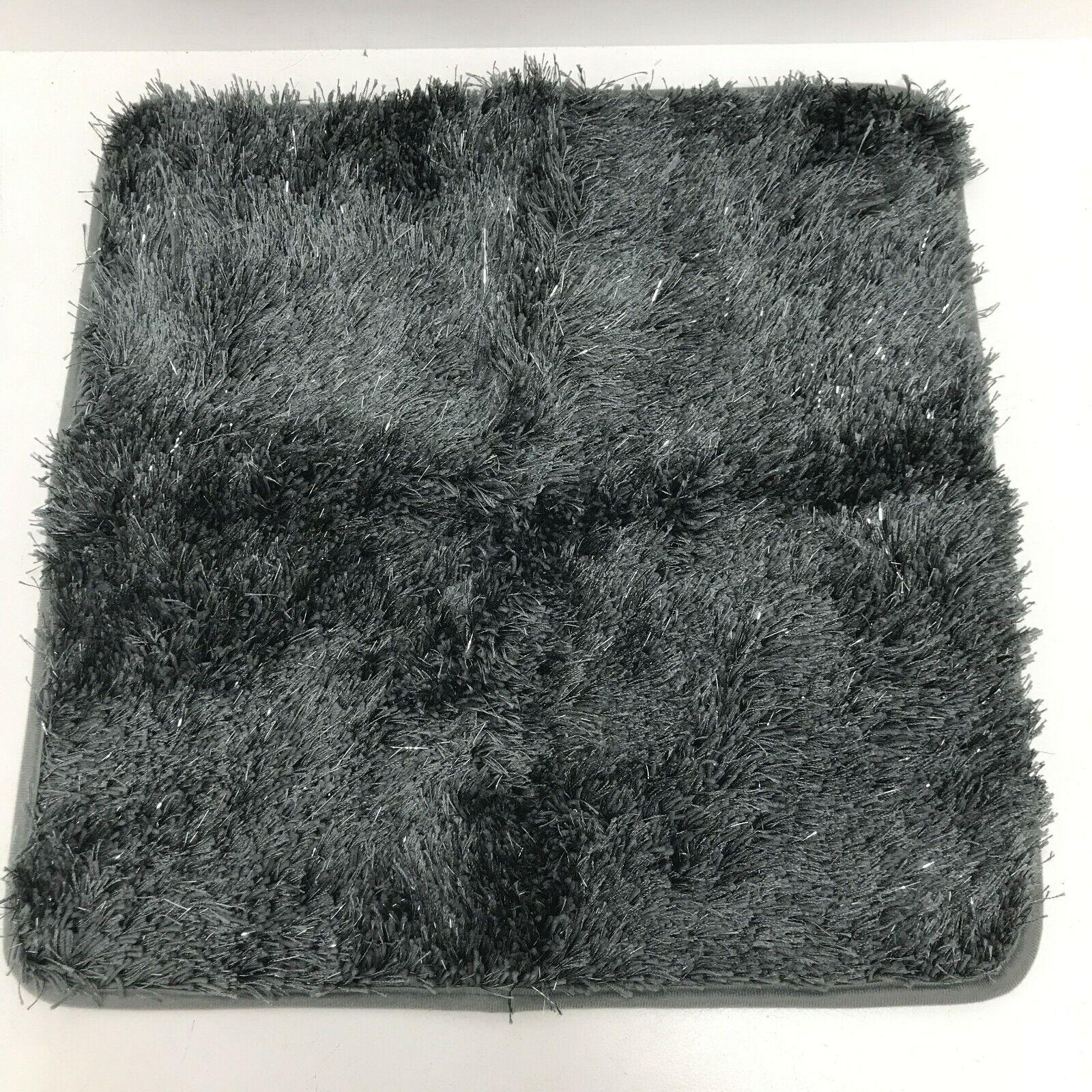 New Next Bath Shower Mat Home Grey Charcoal Sparkle Bathroom Long Pile 261388
