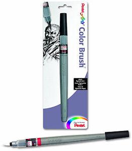 Pentel Arts Color Brush Black Pigment Ink Durable Nylon Brush Tip Acid Free