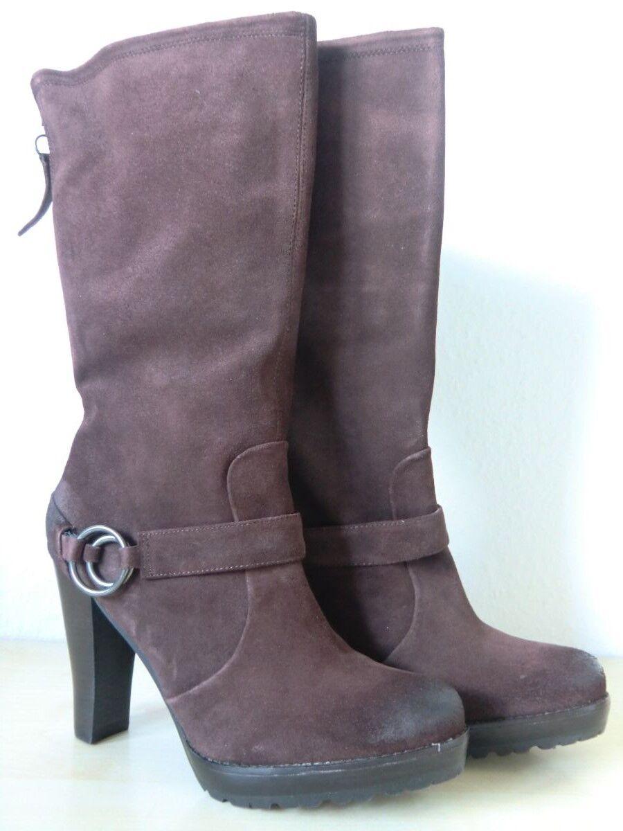 Biviel Damenstiefel Lederstiefel Stiefel Used-Look + Schnalle Braun - Größe 42