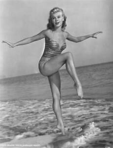 American-Dancer-And-Mgm-Actress-Vera-Ellen-Wearing-A-Onepiece-Swimsuit-OLD-PHOTO