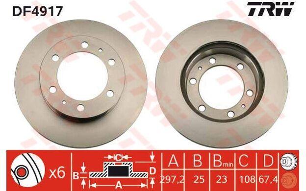 TRW Juego de 2 discos freno 297mm ventilado TOYOTA HILUX FORTUNER DF4917