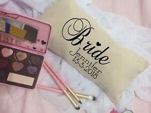 Personalised-Bride-Canvas-Look-Makeup-bag-Wedding-Gift-bride-to-be-hen-039-s