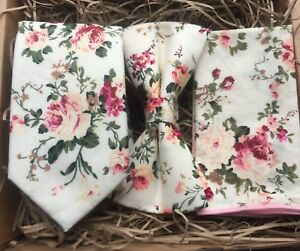 Dusky Pink Floral Wedding Tie /& Pocket Square Set