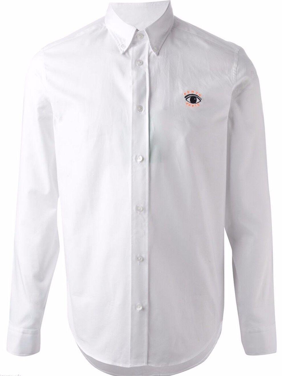 Kenzo Mens Eye Button Down Shirt 100% Cotton White Sz 42 16.5 - XL BNWT