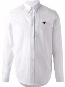 ab36b0ec Kenzo Mens Eye Button Down Shirt 100% Cotton White Sz 42/16.5 - XL ...