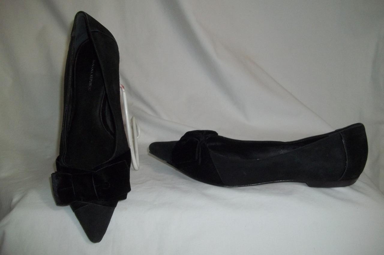Banana Republic Negro Negro Negro Gamuza Zapatos arco de terciopelo Plana Puntera Puntiaguda 8.5 M  bienvenido a elegir