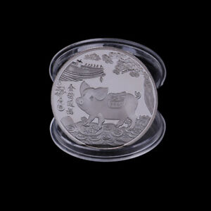 Silver-plated-pig-commemorative-coins-Chinese-zodiac-anniversary-coin-souveni-FR