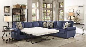 Blue Chenille Queen Sleeper Sofa