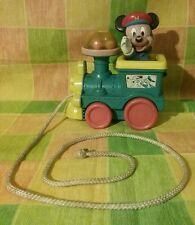 Vintage 1980's Disney Mickey Mouse pull toy train w/ spinning balls and bell