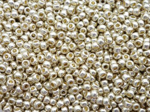 TOHO 8//0 Rocailles 3mm 10g 20g Silber metallic Code leichter Goldton 558