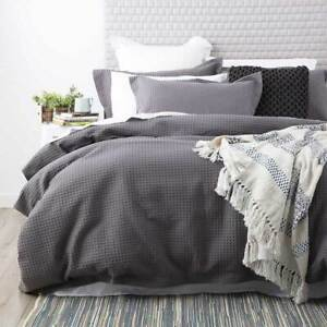 100% Cotton Thick Cotton Waffle Quilt Cover Duvet Doona Set CHARCOAL All Sizes