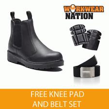 Dickies Safety Work Dealer Boot Leather Steel Toe Sm Black Free Knee Pad Belt