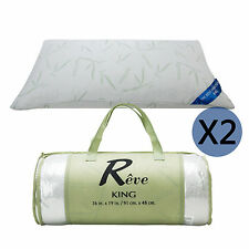 2 Pack Original Bamboo Memory Foam Pillow King Size Hypoallergenic w/Carry Bag