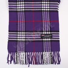 Women 100% CASHMERE Scarf Purple tartan Plaid Design Soft MADE IN SCOTLAND