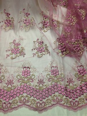 """ROSE/GOLD EMBROIDERY MESH LACE FABRIC 52"""" WIDE 3 YARD"""