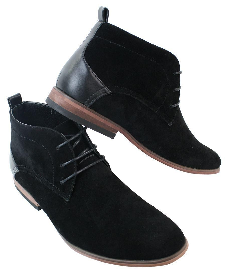 Mens Desert Ankle Boots shoes Smart Casual Real Leather Inner Trim Laced