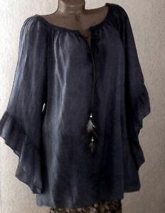 4e513acc03c6 Das Bild wird geladen ITALY-Longshirt-Tunika-Bluse-Shirt-Oversize-Spitze- Hippie-