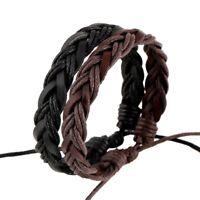 Bracelet en CUIR tressé noir ou brun ajustable pour homme et femme