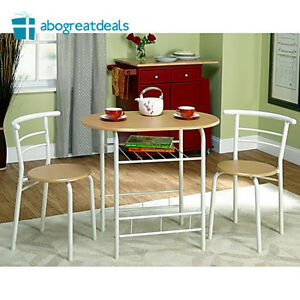 Bistro Set 3 Piece Dining Room Table And Chairs Kitchen Furniture White Natural Ebay
