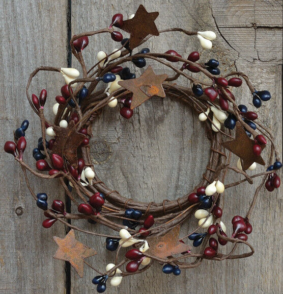 "6/"" opening Pip Berry Candle Ring Wreath Red Tan country Rusty Stars Farmhouse"