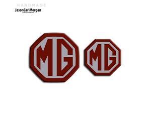 MG-ZT-T-Mk1-Estate-Front-Rear-Badge-Inserts-59mm-45mm-Burgundy-Silver-Badges