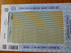 """Microscale Decal #91136 Stripes 4"""" and 6"""" Widths - Yellow (1:87 Scale)"""