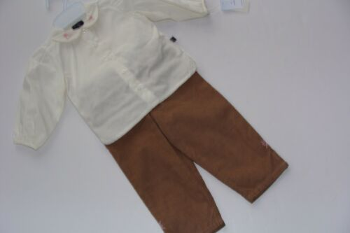 Petit Ami Elite Baby Girls 12 Months Outfit 2PC Cream Top NWT Brown Pants