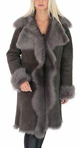 Ladies Sheepskin Coat 3/4 Length Long Toscana Shearling Suede ...