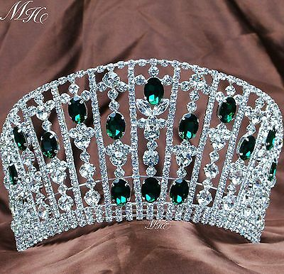 Emerald Rhinestone Tiara Large Green Crystal Crown Wedding Pageant Party Costume