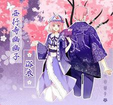 Japanese Bathrobe TouHou Project Saigyouji Yuyuko Loose Yukata Haori Fans Coat