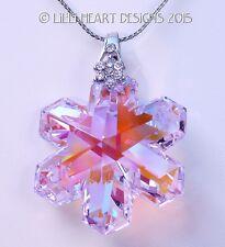 m/w Swarovski Crystal AB PINK Disontinued Snowflake on Chain Lilli Heart Designs