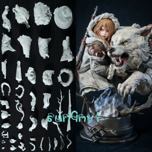 1-6-Unpainted-Girl-and-Wolf-Bust-Figure-Statue-Model-Resin-GK-Unassembled