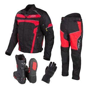 Moto-Chaqueta-de-Cordura-Pantalones-Rojo-Guantes-Zapatos-Cuero-Fundas
