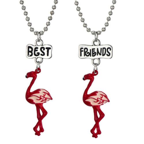Best Friends Special Gift Friendship Two Necklaces Pendant Flamingos Birds Girls