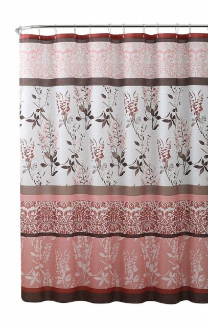 VCNY Home Ashley Pink Coral Canvas Fabric Shower Curtain Contemporary Floral