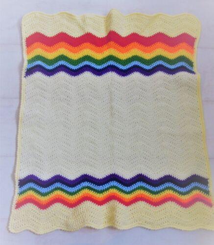 Handmade Knit Crochet Rainbow Baby Blanket Cot Moses Pram New Baby Boy Girl Gift