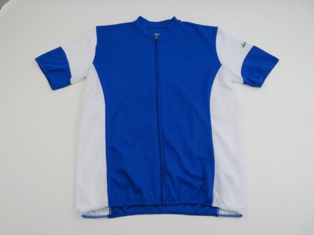 Schwinn Mens Blue & White Bike Cycling Jersey Size Medium Short Sleeve Full Zip