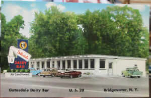 1950s Gatesdale Dairy Bar Bridgewater NY postcard - great vintage cars in lot!