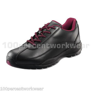 PSF-338SM-Work-Safety-Black-Ladies-Womens-Leather-Trainers-Shoes-Steel-Toe-Sole