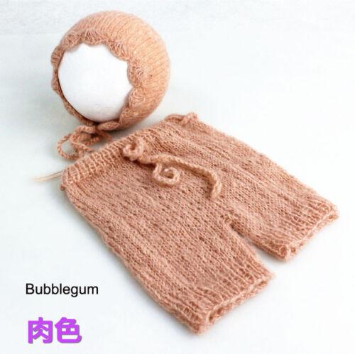 Neugeborene Baby Knit Strick Mohair Fotografie Kostüm Mütze Höschen Set D325
