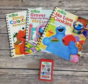 Story-Reader-With-Cartridge-Sesame-Street-Elmo-Grover-Cookie-Monster-3-Books